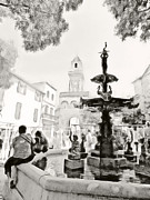 Inkwash Prints - Fountain in the Square Print by Tina Concetta Marzocca
