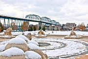 Chattanooga Tennessee Photos - Fountain in Winter by Tom and Pat Cory