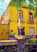 Rivera Mixed Media Framed Prints - Fountain Framed Print by Ismael Rivera