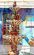 Southwestern Fountain Prints - Fountain of New Mexico Print by Barbara Chichester