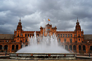 Seville Prints - Fountain on Plaza de Espana. Seville Print by Jenny Rainbow