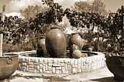 Winery Photography Digital Art Posters - Fountain Urns Poster by Kirt Tisdale