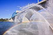 Chattanooga Tennessee Photos - Fountains and the Market Street Bridge by Tom and Pat Cory