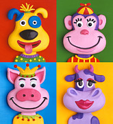 Farm Animals Sculpture Posters - Four Animal Faces Poster by Amy Vangsgard