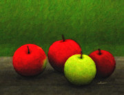 Complementary Color Prints - Four Apples Print by Jutta Maria Pusl