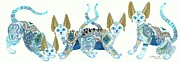 Extinct And Mythical Mixed Media Metal Prints - Four Asian Porcelain Cats Metal Print by Jennifer  Anne Esposito