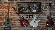 Musical Instrumends Prints - Four autographed Guitars and signed record from bands Avenged SevenFold- The Off Spring  Print by Renee Anderson