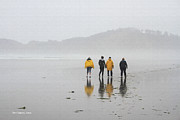 Foggy Day Digital Art Prints - Four Beachcombers On A Foggy Day Print by Tom Janca