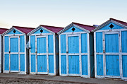 Red Roofs Photos - Four Blue Cabanas - Mondello Beach - Sicily by Madeline Ellis