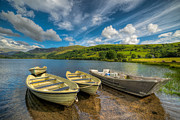 Llyn Prints - Four Boats Print by Adrian Evans