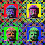 Symmetrical Digital Art Posters - Four Buddhas 20130130 Poster by Wingsdomain Art and Photography