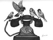 Telephone Drawings - Four Calling Birds by J Ferwerda