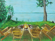 Shoreline Pastels Posters - Four Chairs Poster by Jeanne Fischer