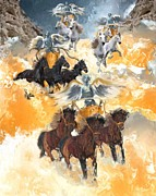 White Horses Mixed Media Prints - Four chariots zechariah 6 Print by Donna Johnson