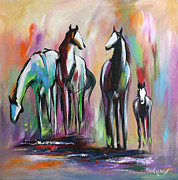 Horses Paintings - Four by Cher Devereaux