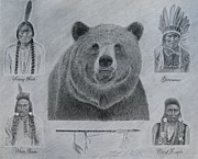 Sitting Bull Originals - Four Chiefs with Bear by Steve Keller