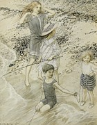 Ocean Shore Drawings Prints - Four Children at the Seashore Print by Arthur Rackham