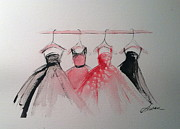 Bridesmaid Paintings - Four Dresses by Susan Voigt