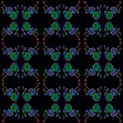 Sue Duda Digital Art Posters - Four Fancy Fiddles Tiled on Black Poster by Sue Duda