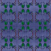 Sue Duda Digital Art Posters - Four Fancy Fiddles Tiled on Denim Poster by Sue Duda