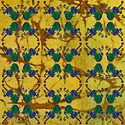 Sue Duda Digital Art Posters - Four Fancy Fiddles TIled on Gold Batik Poster by Sue Duda
