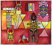 Contemporary Tribal Art Paintings - Four Fertility Masks of the Senufo Tribe Ivory Coast by Ephrem Kouakou