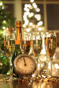 Cheers Posters - Four glasses of champagne ready for the New Year Poster by Sandra Cunningham