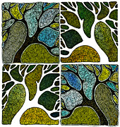 Hand-pulled Print Framed Prints - Four Hand-Carved Trees Framed Print by Marta Harvey