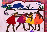 African American Tapestries - Textiles Metal Prints - Four Little Girls Metal Print by Ruth Ash