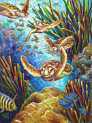 Brain Coral Posters - Four Loggerhead Turtles Poster by Nancy Tilles