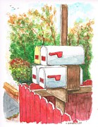 Picket Fence Originals - Four mail boxes near a picket fence in Laguna Beach - California by Carlos G Groppa