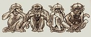 Monkeys Drawings - Four Monkeys of the Apocalypse by Dale Michels