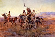 Cowboy Art Digital Art Posters - Four Mounted Indians Poster by Charles Russell
