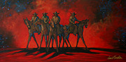 Contemporary Cowgirl Paintings - Four On The Hill by Lance Headlee