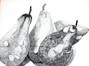 Drawing Painting Originals - Four Pears of Two Pair by Marilyn Healey