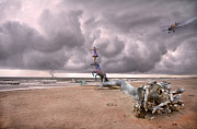 Storm Digital Art Prints - Four-Ring Circus Print by Betsy A Cutler East Coast Barrier Islands