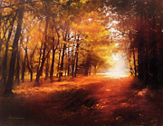 Autumn Landscape Mixed Media Posters - Four Seasons Autumn Impressions At Dawn Poster by Zeana Romanovna