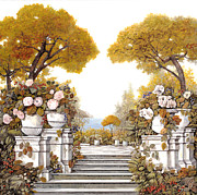 Balustrade Posters - four seasons-autumn on lake Maggiore Poster by Guido Borelli