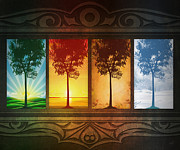 Winter Trees Mixed Media Posters - Four Seasons Poster by Bedros Awak