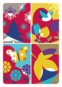 Butterfly Digital Art Posters - Four Seasons Poster by Ron Magnes