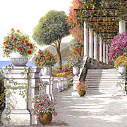 Stairs Painting Prints - four seasons-summer on lake Como Print by Guido Borelli