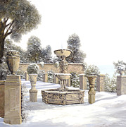 Ice Painting Posters - four seasons-winter on lake Como Poster by Guido Borelli
