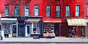 Brownstone Framed Prints - Four shops on 11th Ave Framed Print by Anthony Butera
