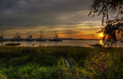 Beach Photograph Photo Originals - Four Shrimboats by  Island Sunrise and Sunsets Pieter Jordaan
