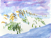 Snowy Trees Paintings - Four Sisters at Snowbasin by Walt Brodis