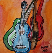 Instrument Drawings Originals - Four Ukuleles by Gitta Brewster