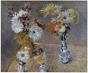Pink Chrysanthemums Framed Prints - Four Vases of Chrysanthemums Framed Print by Gustave Caillebotte