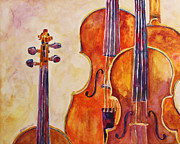 Musical Painting Originals - Four Violins by Jenny Armitage