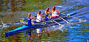 Athletic Digital Art - Four woman rowing by David Lee Thompson