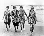 White Bathing Suit Framed Prints - Four Women In 1910 Beach Wear Framed Print by Underwood Archives